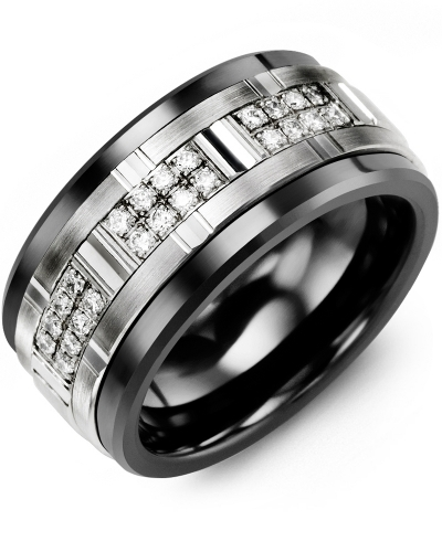 Men's & Women's Black Ceramic & White Gold + 24 Diamonds 0.24ct Wedding Band