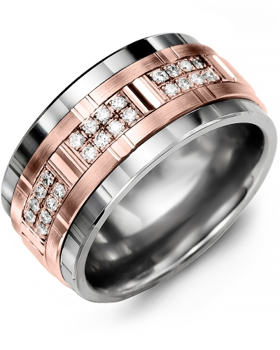 Men's & Women's Tungsten & Rose Gold + 24 Diamonds 0.24ct Wedding Band