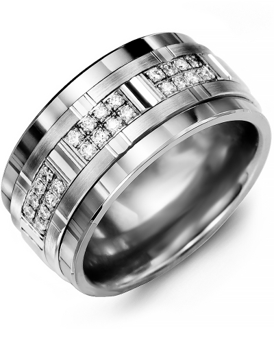 Men's & Women's Tungsten & White Gold + 24 Diamonds tcw. 0.24 Wedding Band from MADANI Rings. Wedding bands, fashion rings, promise rings, made of Tungsten, Ceramic, Cobalt, and Gold. View the collection at madanirings.com