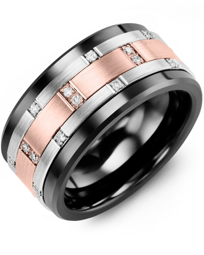 Men's & Women's Black Ceramic & White/Rose Gold + 14 Diamonds 0.14ct Wedding Band