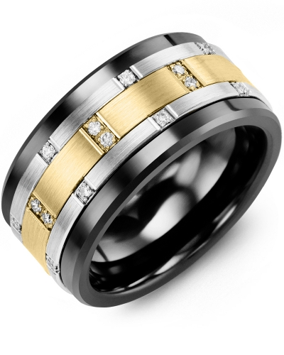 Men's & Women's Black Ceramic & White/Yellow Gold + 14 Diamonds 0.14ct Wedding Band