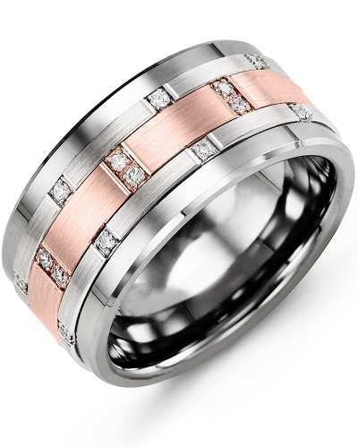 Men's & Women's Cobalt & White/Rose Gold + 14 Diamonds 0.14ct Wedding Band
