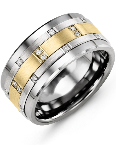 Men's & Women's Cobalt & White/Yellow Gold + 14 Diamonds 0.14ct Wedding Band