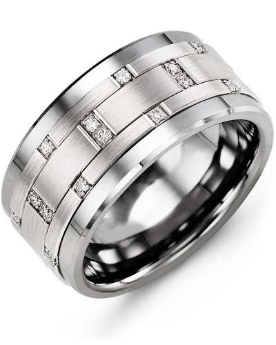 Men's & Women's Cobalt & White Gold + 14 Diamonds tcw 0.14 Wedding Band from MADANI Rings. Wedding bands, fashion rings, promise rings, made of Tungsten, Ceramic, Cobalt, and Gold. View the collection at madanirings.com