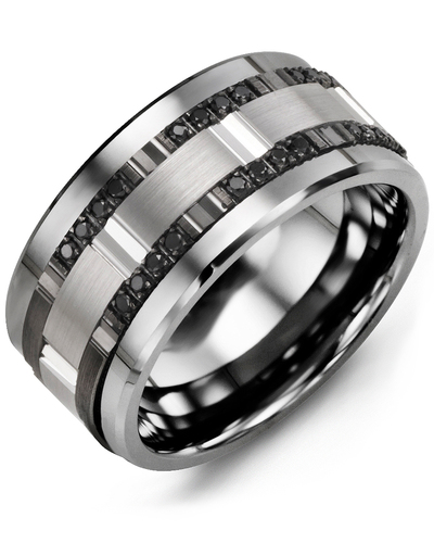 Men's & Women's Cobalt & White/Black Gold + 24 Black Diamonds 0.24ct Wedding Band from MADANI Rings. Wedding bands, fashion rings, promise rings, made of Tungsten, Ceramic, Cobalt, and Gold. View the collection at madanirings.com