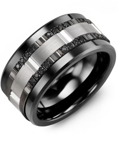 Men's & Women's Black Ceramic & White/Black Gold + 24 Black Diamonds tcw. 0.24 Wedding Band 14K 10mm