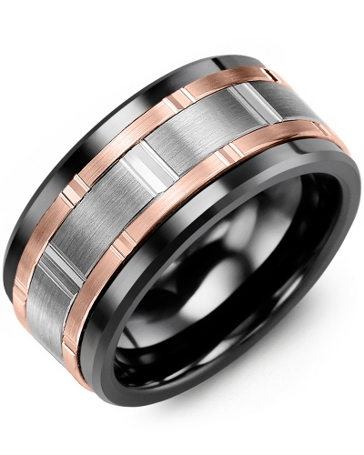 Men's & Women's Black Ceramic & White/Rose Gold Wedding Band from MADANI Rings. Wedding bands, fashion rings, promise rings, made of Tungsten, Ceramic, Cobalt, and Gold. View the collection at madanirings.com