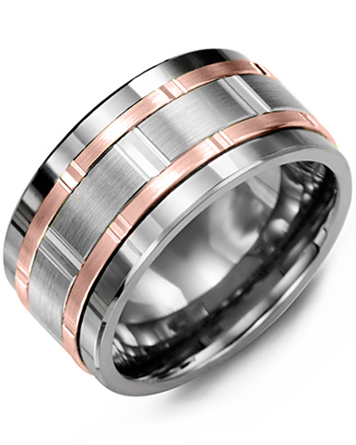 Men's & Women's Tungsten & White/Rose Gold Wedding Band