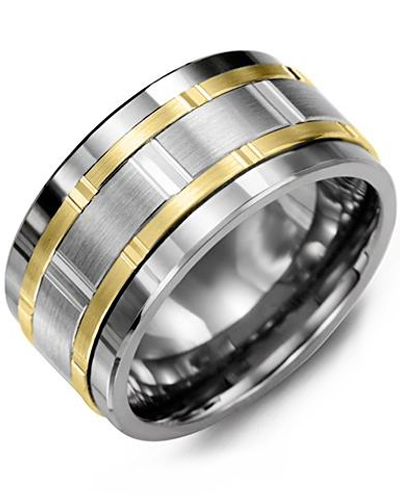 Men's & Women's Tungsten & White/Yellow Gold Wedding Band