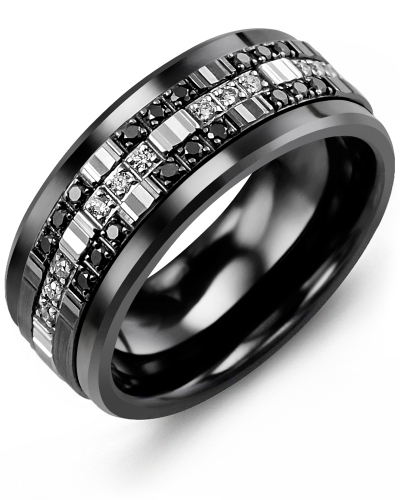 Men's & Women's Black Ceramic & White/Black Gold + 30 Diamonds tcw 0.30 Wedding Band