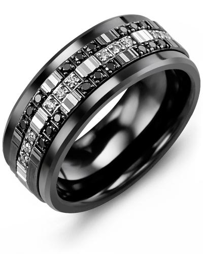 Men's & Women's Black Ceramic & White/Black Gold + 30 Black White Diamonds 0.30ct Wedding Band