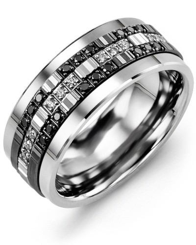 Men's Trio Monochrome Diamond Wedding Ring