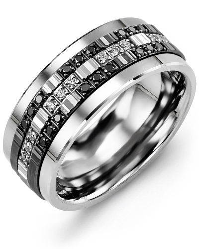 Men's & Women's Tungsten & White/Black Gold + 30 Black White Diamonds 0.30ct Wedding Band