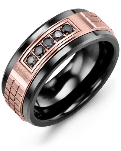 Men's & Women's Black Ceramic & Rose Gold + 5 Black Diamonds 0.15ct Wedding Band