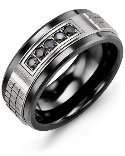 Men's & Women's Black Ceramic & White Gold + 5 Black Diamonds 0.15ct Wedding Band