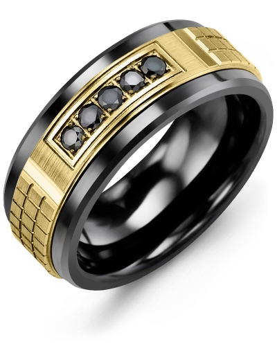 Men's & Women's Black Ceramic & Yellow Gold + 5 Black Diamonds 0.15ct Wedding Band