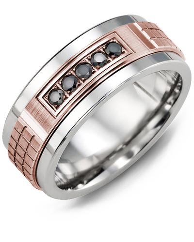 Men's & Women's Tungsten & Rose Gold + 5 Black Diamonds 0.15ct Wedding Band