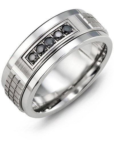 Men's & Women's Tungsten & White Gold + 5 Black Diamonds 0.15ct Wedding Band
