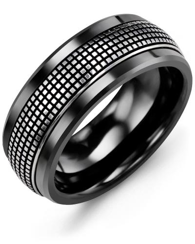 Men's & Women's Black Ceramic & White Gold Wedding Band 18K 10mm