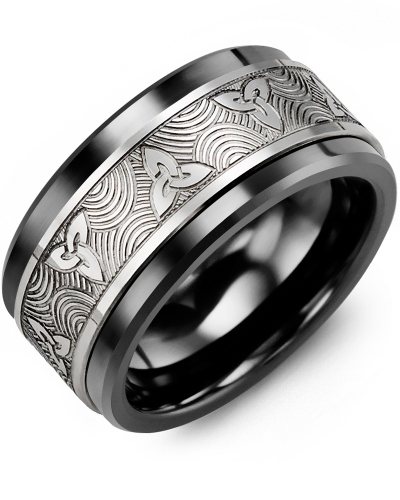Men's & Women's Black Ceramic & White Gold Wedding Band