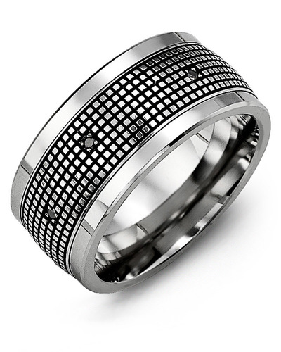 Men's & Women's Cobalt & White Gold + 12 Black Diamonds 0.12ct Wedding Band