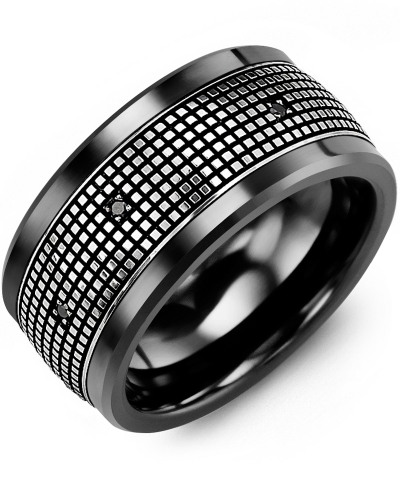 Men's & Women's Black Ceramic & White Gold + 12 Black Diamonds 0.12ct Wedding Band