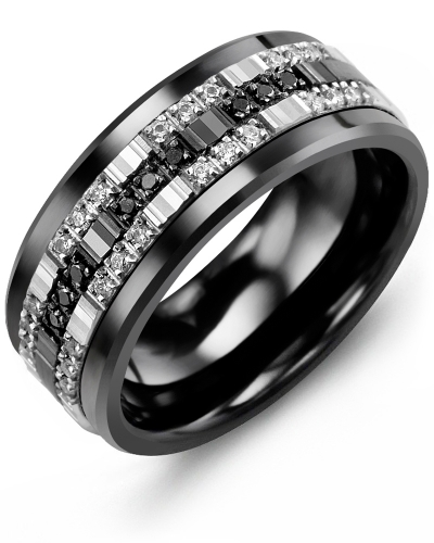 Men's & Women's Black Ceramic & White/Black Gold + 33 White Black Diamonds 0.33ct Wedding Band