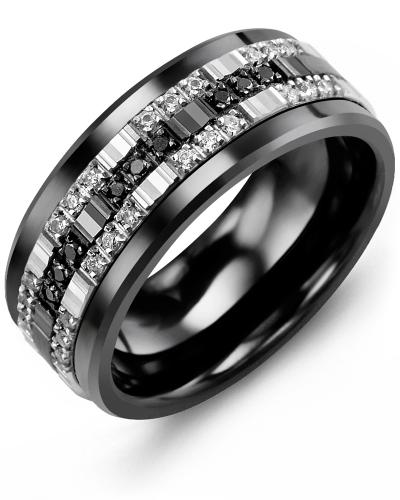 Men's & Women's Black Ceramic & White/Black Gold + 33 Diamonds tcw. 0.33 Wedding Band 10K 7mm