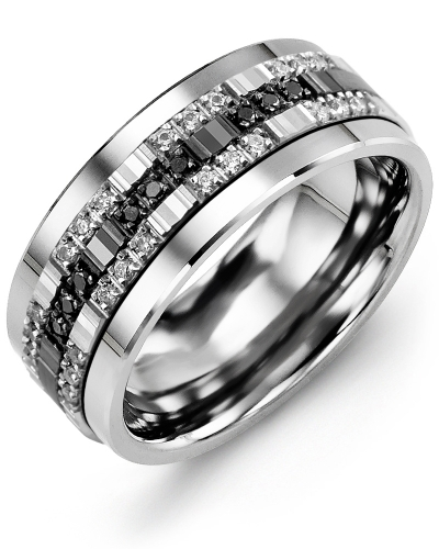Men's & Women's Tungsten & White/Black Gold + 33 White Black Diamonds 0.33ct Wedding Band