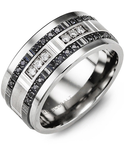 Men's & Women's Tungsten & White/Black Gold + 30 Black White Diamonds 0.36ct Wedding Band