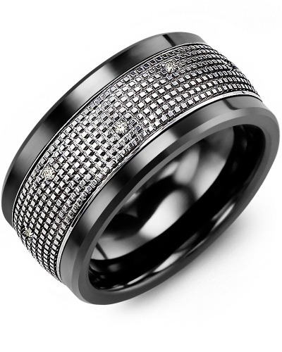 Men's & Women's Black Ceramic & White Gold + 12 Diamonds 0.12ct Wedding Band