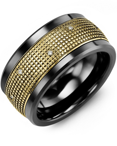 Men's & Women's Black Ceramic & Yellow Gold + 12 Diamonds tcw 0.12 Wedding Band 10K 9mm