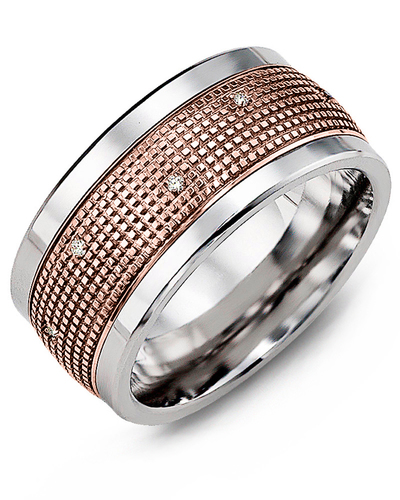 Men's & Women's Cobalt & Rose Gold + 12 Diamonds 0.12ct Wedding Band