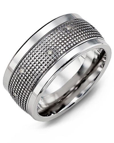 Men's & Women's Cobalt & White Gold + 12 Diamonds 0.12ct Wedding Band