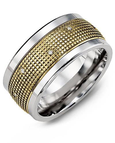 Men's & Women's Cobalt & Yellow Gold + 12 Diamonds 0.12ct Wedding Band