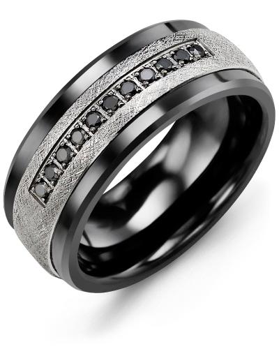 Men's & Women's Black Ceramic & White Gold + 11 Black Diamonds tcw 0.11 Wedding Band 10K 7mm