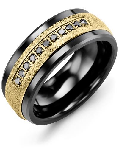 Men's & Women's Black Ceramic & Yellow Gold + 11 Black Diamonds tcw 0.11 Wedding Band 10K 7mm