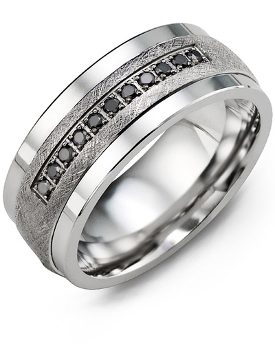 Men's & Women's Cobalt & White Gold + 11 Black Diamonds 0.11ct Wedding Band