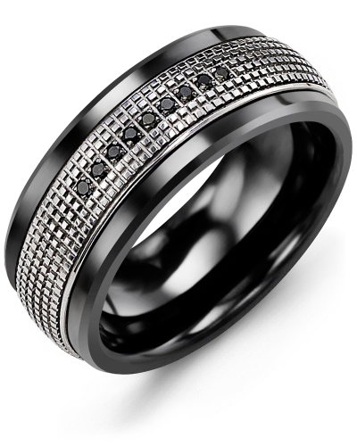 Men's & Women's Black Ceramic & White Gold + 9 Black Diamonds 0.09ct Wedding Band from MADANI Rings. Wedding bands, fashion rings, promise rings, made of Tungsten, Ceramic, Cobalt, and Gold. View the collection at madanirings.com
