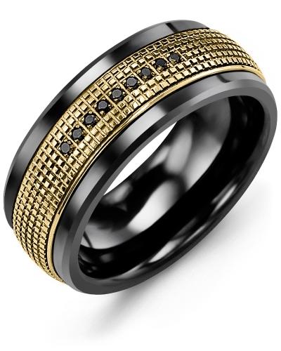 Men's & Women's Black Ceramic & Yellow Gold + 9 Black Diamonds tcw 0.09 Wedding Band 10K 7mm