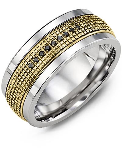 Men's & Women's Tungsten & Yellow Gold + 9 Black Diamonds 0.09ct Wedding Band