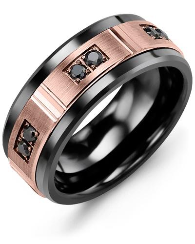 Men's & Women's Black Ceramic & Rose Gold + 6 Black Diamonds 0.18ct Wedding Band
