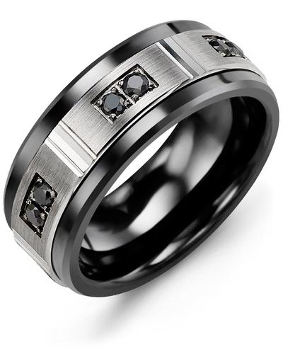 Men's & Women's Black Ceramic & White Gold + 6 Black Diamonds 0.18ct Wedding Band