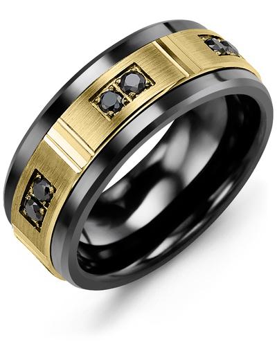 Men's & Women's Black Ceramic & Yellow Gold + 6 Black Diamonds 0.18ct Wedding Band