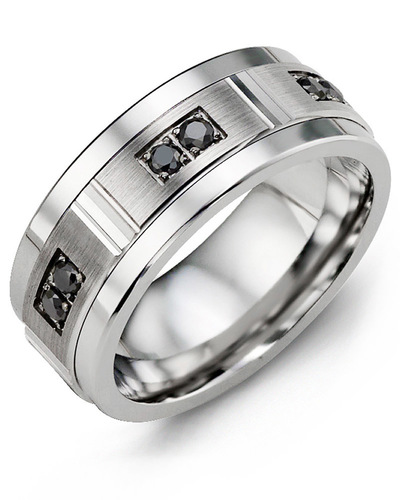 Men's & Women's Cobalt & White Gold + 6 Black Diamonds 0.18ct Wedding Band
