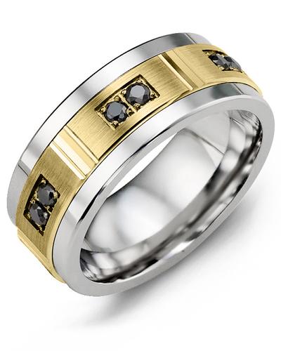 Men's & Women's Cobalt & Yellow Gold + 6 Black Diamonds 0.18ct Wedding Band