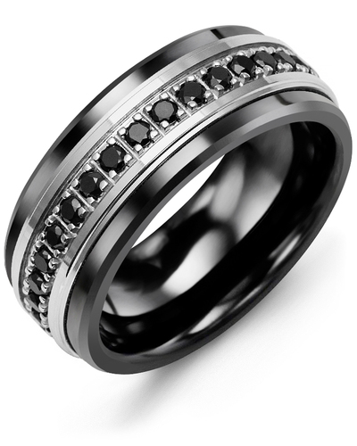 Men's & Women's Black Ceramic & White Gold + 17 Black Diamonds 0.51ct Wedding Band