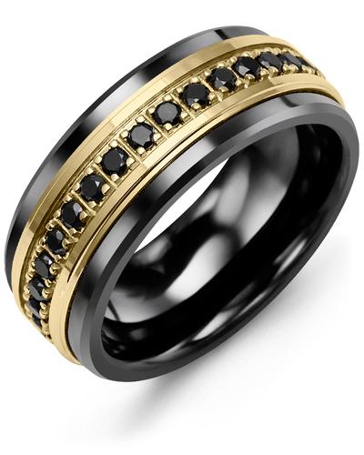 Men's & Women's Black Ceramic & Yellow Gold + 17 Black Diamonds 0.51ct Wedding Band