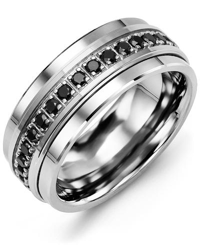 Men's & Women's Cobalt & White Gold + 17 Black Diamonds 0.51ct Wedding Band
