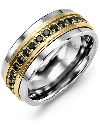 Men's & Women's Cobalt & Yellow Gold + 17 Black Diamonds 0.51ct Wedding Band